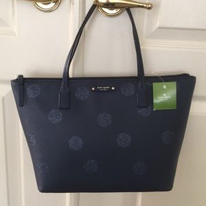 Kate Spade NWT haven lane navy glitter dot tote